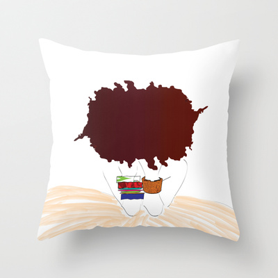 Pictured above is a pillow from Bly's Pardon My Fro collection