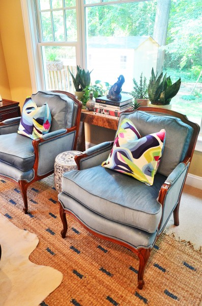 Vintage French Bergere  Chairs with modern pillows. photo credit: ariene bethea