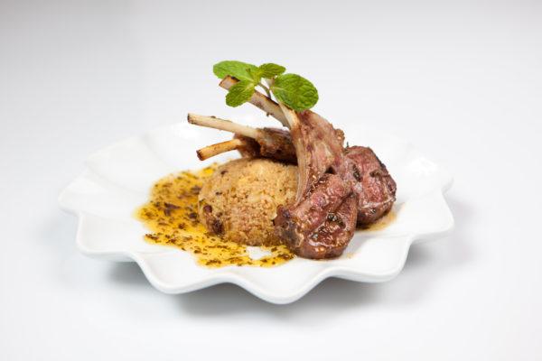 Lamb Chop with Padron Pepper, Roasted Shallots, Orange Chutney
